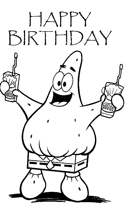 Happy Birthday SPONGEBOB COLORING PAGES