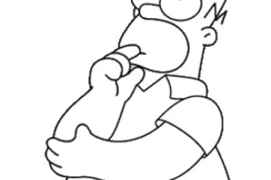 Free Simpsons coloring pages , letscoloringpages.com , Homer simpsons thinking