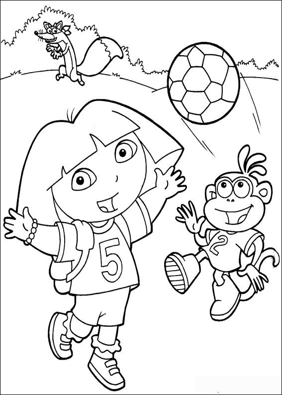 Soccer Dora the Explorer coloring pages Free Printable Coloring