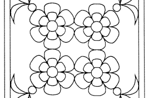Flower Square Stained Glass Coloring pages