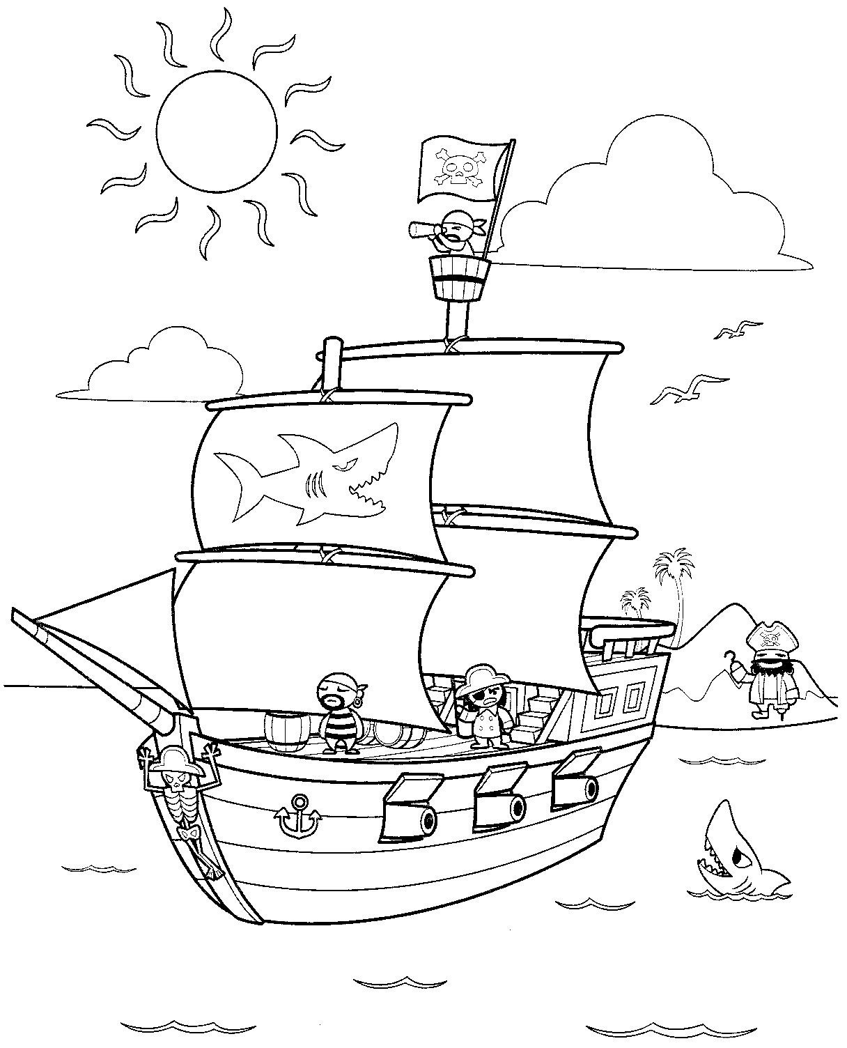 Ship Coloring Pages for Kids | Print Coloring Pages