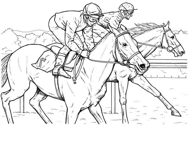 Race Horses Color Pictures | Print Coloring pages | #2