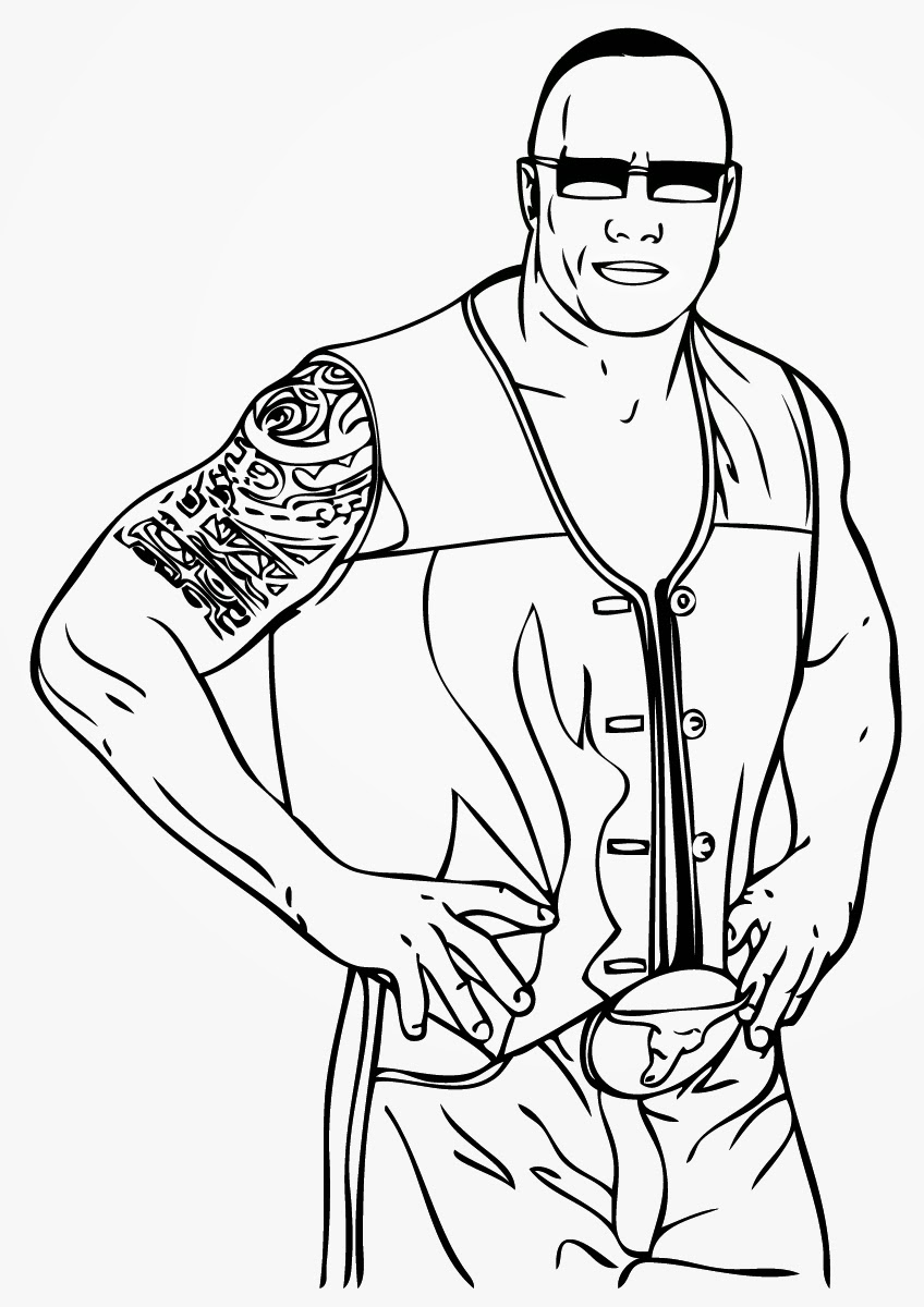 The Rock Coloring Pages Wwe